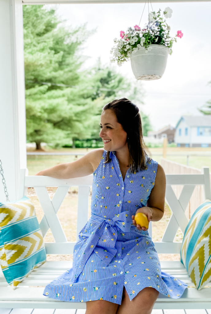 J.crew Factory shirtdress, J.Crew factory lemon dress, lemon dress, lemonade dress, blue and white stripe dress
