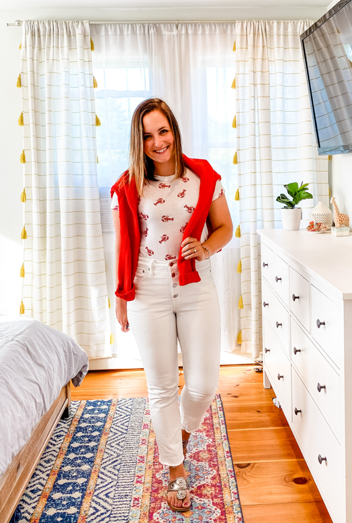 Stripes by the Sea, Stripes by the Sea fashion, Stripes by the Sea outfit, Stripes by the Sea style, white jeans, white jeans outfit, how to wear white jeans, lobster motif, lobster t-shirt, Jcrew Roll-neck sweater