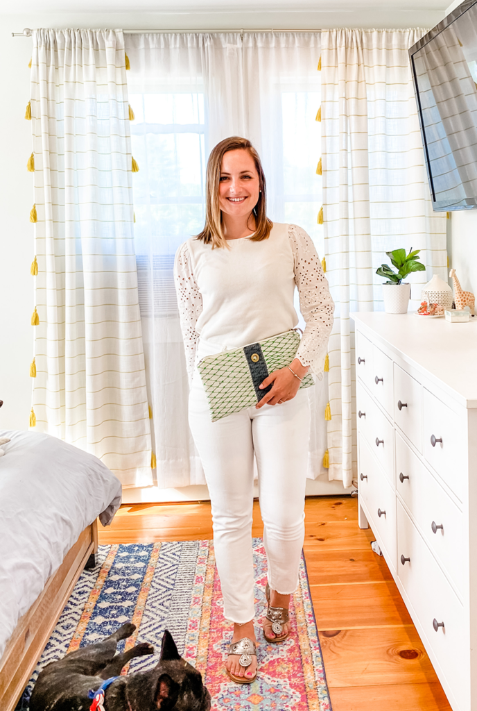 Stripes by the Sea, Stripes by the Sea fashion, Stripes by the Sea outfit, Stripes by the Sea style, white jeans, white jeans outfit, how to wear white jeans, shop your closet, 1 item 5 ways, monochrome outfit, eyelet sleeve blouse, eyelet blouse, alaina marie bag