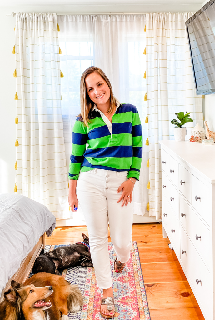 Stripes by the Sea, Stripes by the Sea fashion, Stripes by the Sea outfit, Stripes by the Sea style, white jeans, white jeans outfit, how to wear white jeans, shop your closet, 1 item 5 ways, Rugby Shirt, Womens Rugby Shirt, Jcrew Womens Rugby Shirt, Green and Navy stripes