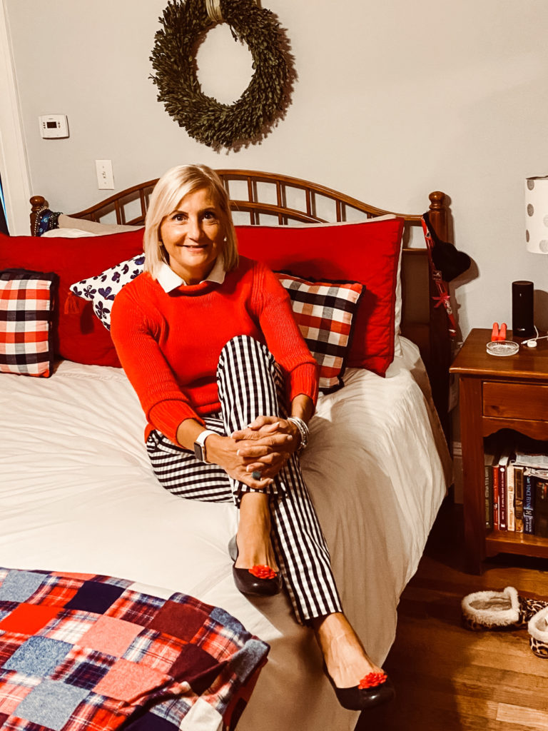 Sue Zacharer, Stripes by the sea red white adn blue challenge, gingham pants, jcrew rollneck sweater,  red white and blue outfit