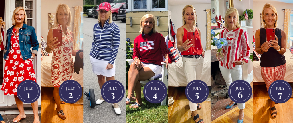 Sue Zacharer, red white and blue fashion, red white and blue outfit, red white and blue challenge, preppy summer outfits, preppy outfits, preppy mom